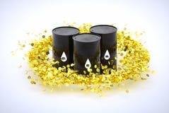 Tonneaux à huile dans le cercle des pièces de monnaie d'or Photos stock
