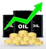 Tonneaux à huile et pile de la pièce d'or, prix vers le haut de concept Image stock