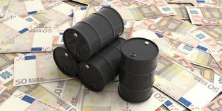 Tonneaux à huile sur cinquante billets de banque d'euros illustration 3D illustration de vecteur