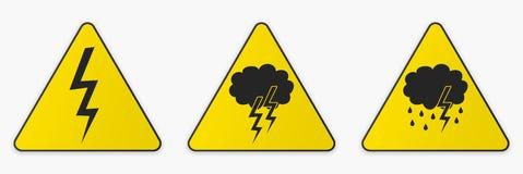 Tonnerre et tempête Ensemble de signes Images libres de droits
