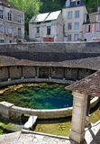 Tonnerre France. Tonnerre in the Morvan, Burgundy, France sits on the River Armancon. Famed for theTonnerre Fosse Dionne wash house Stock Photo