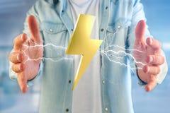 Tonnez le symbole de boulon d'éclairage montré sur une interface futuriste Image libre de droits