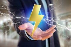 Tonnez le symbole de boulon d'éclairage montré sur une interface futuriste Photo libre de droits