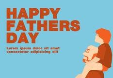 Tono blu ed arancio felice della carta di giorno di padri, Fotografia Stock Libera da Diritti