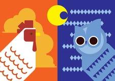 Tono caldo & tono, giorno & notte freschi, contrasto illustrazione di stock
