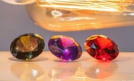 tono caliente número nueve con las piedras preciosas coloridas Imágenes de archivo libres de regalías