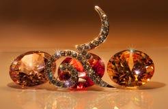 tono caliente número nueve con las piedras preciosas coloridas Foto de archivo libre de regalías