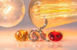 tono caliente número nueve con las piedras preciosas coloridas Foto de archivo