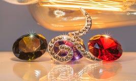 tono caliente número nueve con las piedras preciosas coloridas Imagen de archivo libre de regalías