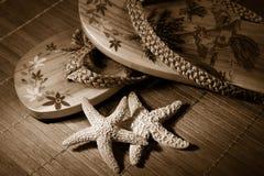 Tono de la sepia de las sandalias de la playa Imagen de archivo libre de regalías