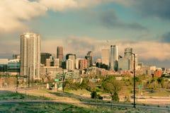 Tono del vintage del horizonte de Denver Colorado foto de archivo