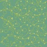 Tono floral inconsútil de la aceituna verde de la tela del corazón Fotografía de archivo