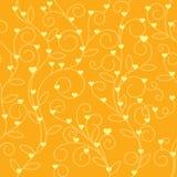 Tono floral inconsútil de la naranja de la tela del corazón Fotografía de archivo libre de regalías