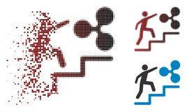 Tono medio dañado Person Climbing To Ripple Icon del pixel libre illustration