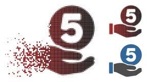 Tono medio de desaparición del pixel icono de la mano del pago de cinco centavos libre illustration
