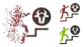 Tono medio de disolución Person Climbing To Cow Icon del pixel stock de ilustración