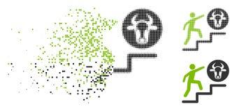 Tono medio de mudanza Person Climbing To Cow Icon de Pixelated libre illustration