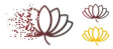 Tono medio quebrado Lotus Icon de Pixelated ilustración del vector