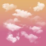 Tono rosa ed arancio e nuvoloso bianco fotografie stock libere da diritti