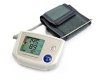Tonometer. Digital blood pressure monitor on white background royalty free stock images
