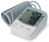 Tonometer eletrônico para a medida da pressão sanguínea Monitor automático da pressão sanguínea de úmero Conceito dos cuidados m? ilustração do vetor