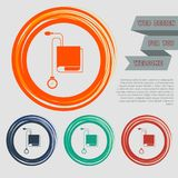 Tonometer Icon. Blood Pressure Checker on the red, blue, green, orange buttons for your website and design with space text. Tonometer Icon. Blood Pressure Royalty Free Stock Photo