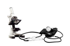 Tonometer and microscope Royalty Free Stock Photo