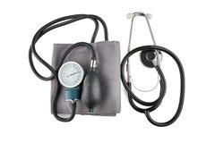Tonometer and stethoscope isolated on white background royalty free stock photos