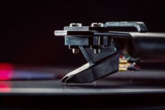 Tonorm with a background cartridge for vinyl records. Copy of space. Close-up. Royalty Free Stock Images