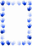Tonos del azul de la frontera del capítulo de las manos ilustración del vector