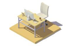 Tonos isométricos del beige del lugar de trabajo de la oficina Imagen de archivo