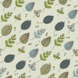 Tonos verdes retros de las hojas y de las flores Imagenes de archivo