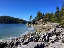 从Tonquin海滩足迹, Tofino,不列颠哥伦比亚省,加拿大的看法 免版税库存照片