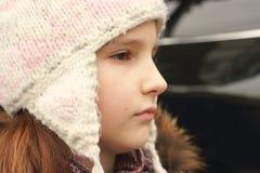 Tonårig flickaframsidaprofil Arkivfoto