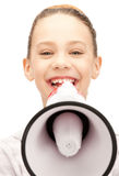 Tonårs- flicka med megafonen Arkivbild