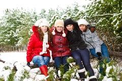 Tonårs- flickor i en vinter parkerar Royaltyfri Fotografi