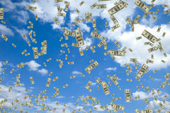 Tons of hundred dollar bills floating in the air. High quality 3D render of tons of hundred dollar bills floating in the air Royalty Free Stock Image