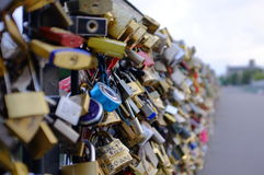 Tons of locks and bridge Stock Photos