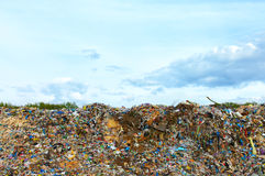 Tons of plastic waste on sky background Royalty Free Stock Photography