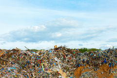 Tons of plastic waste on sky background Stock Photos