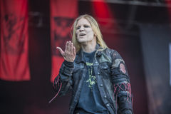 Tons of Rock, Kampfar (day 3). Kampfar is a black metal band from Fredrikstad, Norway. According to their singer, Dolk, their name is an ancient Norse battle cry Stock Photo