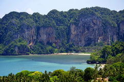 The Tonsai beach from the Railay viewpoint. From the Railay viewpoint, about 110 meter high, it`s possible to see the Ao Nang bay, Tonsai beach, West Railay royalty free stock photos