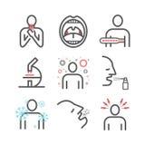 tonsilitis Síntomas, tratamiento Línea iconos fijados Muestras del vector para los gráficos del web stock de ilustración