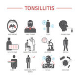 Tonsillitis. Symptoms, Treatment. Icons set. Vector signs for web graphics. Stock Photos