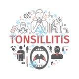 Tonsillitis sztandar Objawy, traktowanie ustawić symbole Wektorów znaki dla sieci grafika Obraz Stock