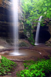 Tonti Canyon of Illinois. Waterfalls flow into Tonti Canyon on a spring day at Starved Rock State Park Stock Images