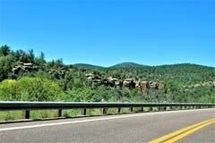 Tonto Nationaal Bos, van Weg 87, U van Arizona S Ministerie van Landbouw, Verenigde Staten stock foto