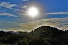 Tonto National Forest, Arizona U.S. Department of Agriculture, United States. Scenic landscape, vegetation and mountain range view of the Tonto National Forest stock images