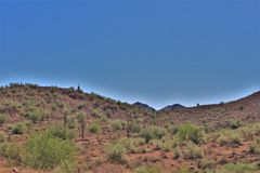 Tonto National Forest, off Highway 87, Arizona U.S. Department of Agriculture, United States. Scenic landscape, vegetation and mountain range view off of Highway stock images