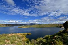 Tonto National Forest - 2019_01.14: Quiet cloudy day at Saguaro Lake.  stock photos